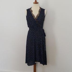 BCBG Cailyn Lace-Trim Dotted Print Wrap Dress
